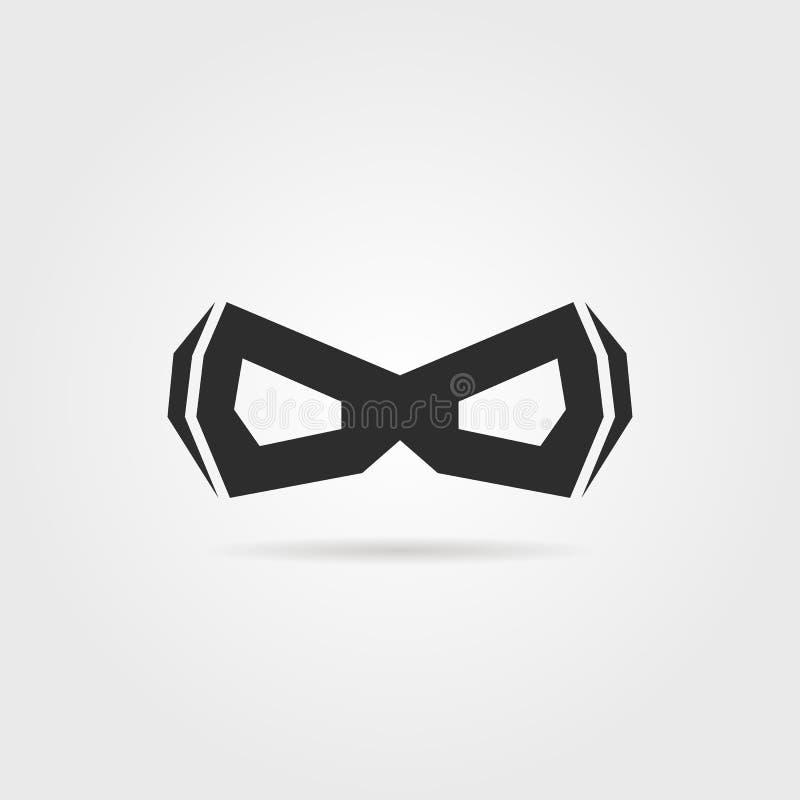 Zwart eenvoudig superheromasker met schaduw royalty-vrije illustratie