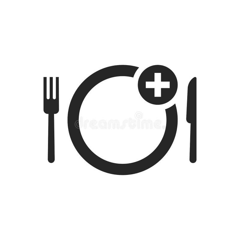 Zwart eenvoudig voedsel die tot pictogram opdracht geven vector illustratie