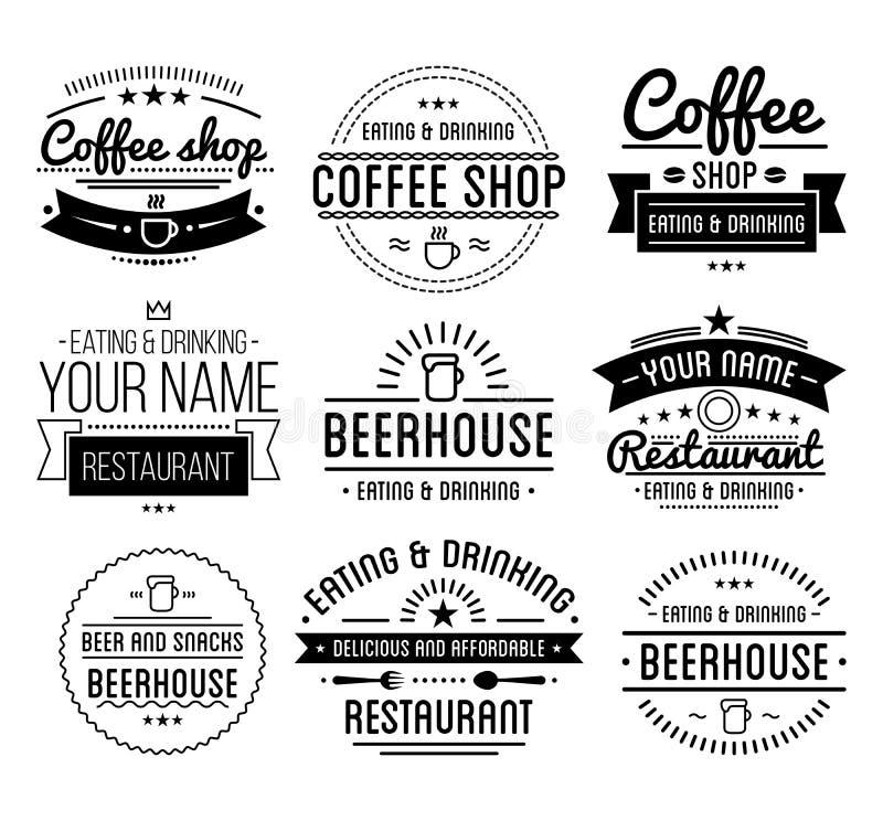Zwart embleem Het malplaatje van de koffiewinkel Restaurantetiket Het etiket van het bierhuis vector illustratie
