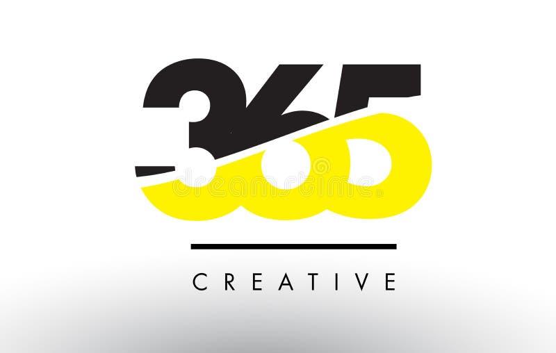 365 zwart en Geel Aantal Logo Design vector illustratie