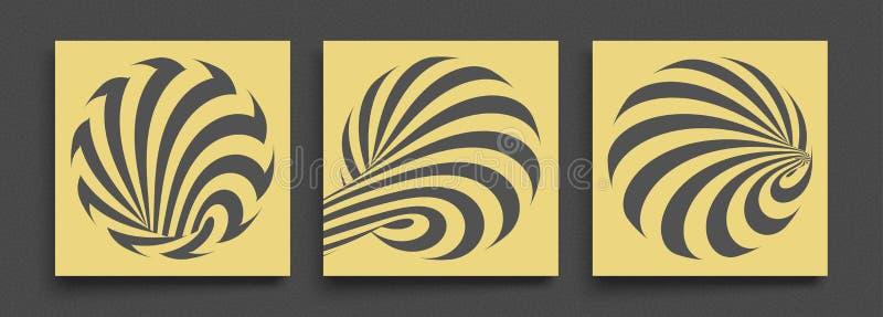Zwart en geel ontwerp Patroon met optische illusie Abstracte 3d geometrische achtergrond Vector illustratie stock illustratie