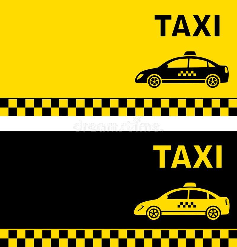 Zwart en geel taxiadreskaartje vector illustratie