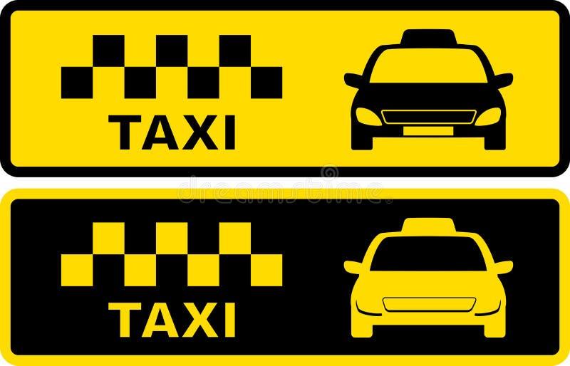 Zwart en geel taxisymbool stock illustratie