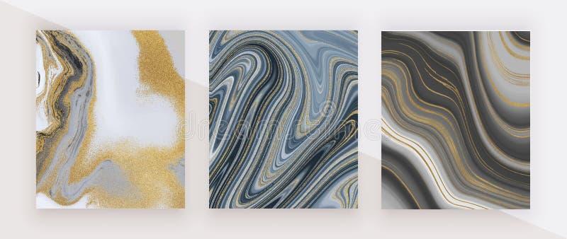 Zwart en gouden schitter inkt schilderend vloeibare marmeren textuur Abstract patroon In achtergronden voor behang, vlieger, affi stock fotografie