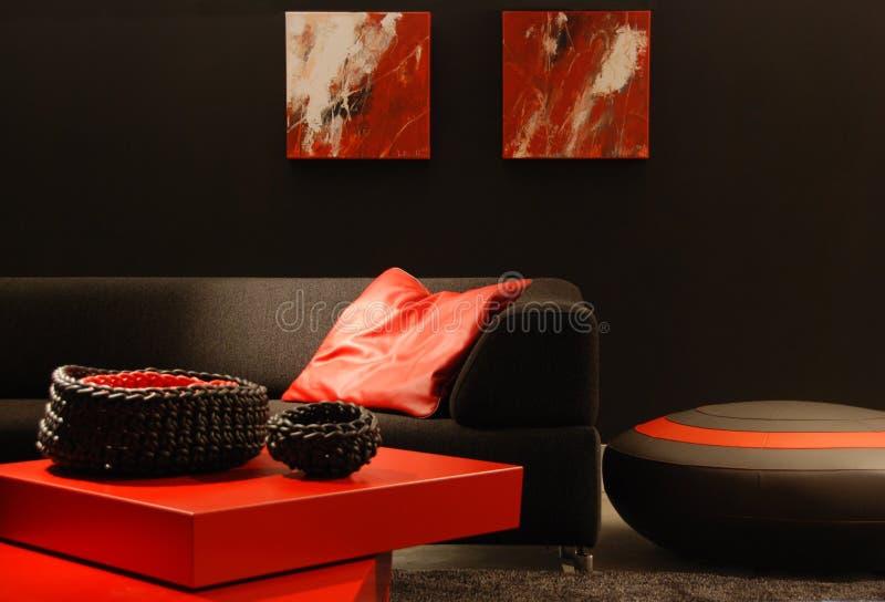 Zwart en rood binnenland royalty-vrije stock foto