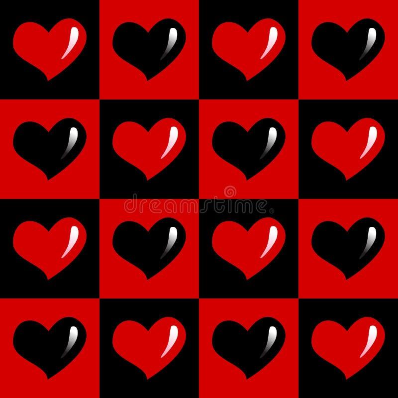 Zwart en rood naadloos patroon van harten stock afbeeldingen