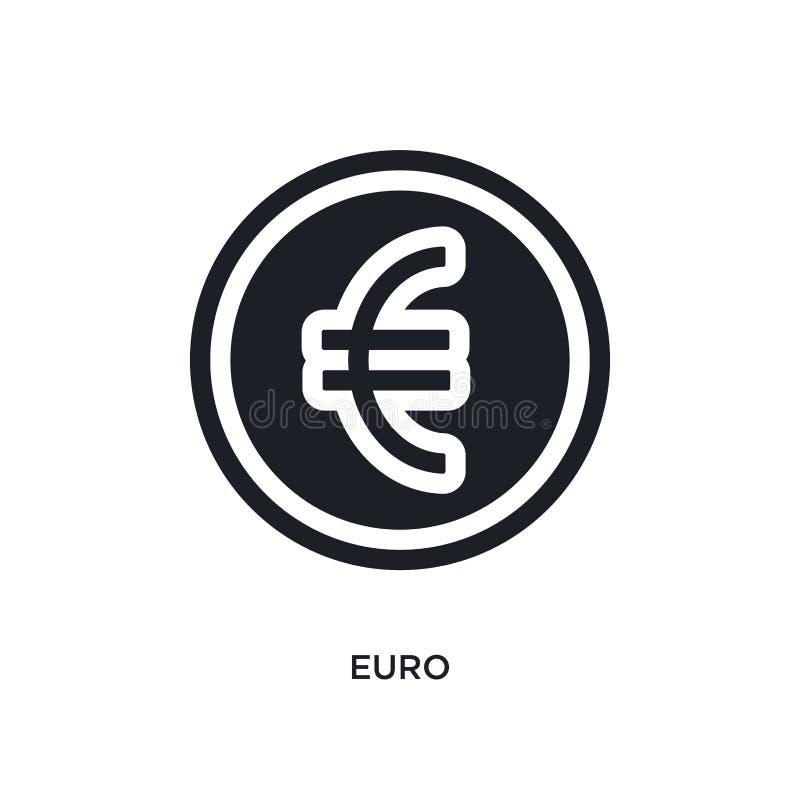 zwart euro geïsoleerd vectorpictogram eenvoudige elementenillustratie van e-commerce en betalingsconcepten vectorpictogrammen eur royalty-vrije illustratie