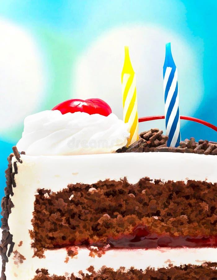 Zwart Forest Gateau Means Chocolate Cake en Verjaardagen stock foto's