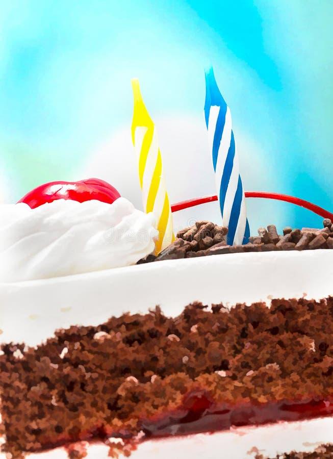 Zwart Forest Gateau Means Chocolates Cake en Verjaardag stock foto's