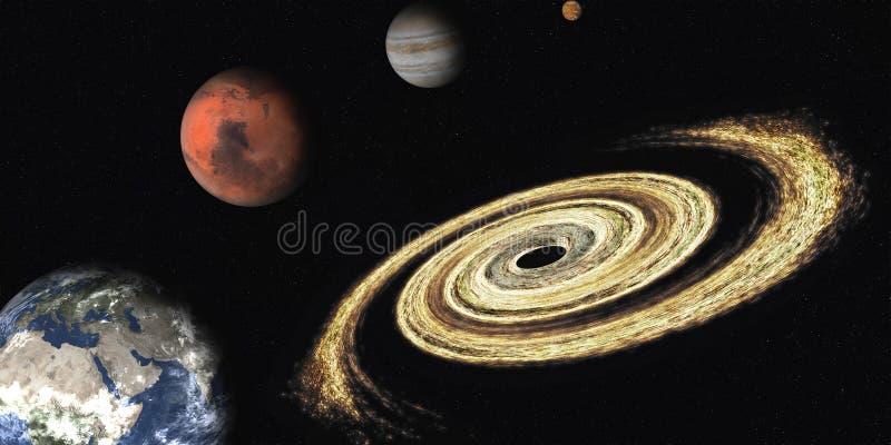 Zwart gat dichtbij zonnesyatemplaneten De elementen van dit beeld werden geleverd door NASA royalty-vrije stock foto