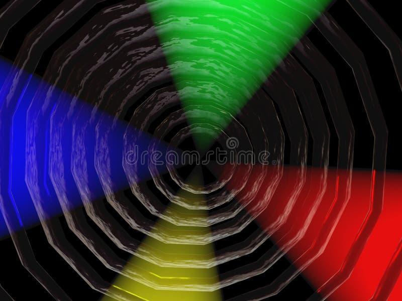 Zwart gat met kleurrijke schijnwerpers stock illustratie