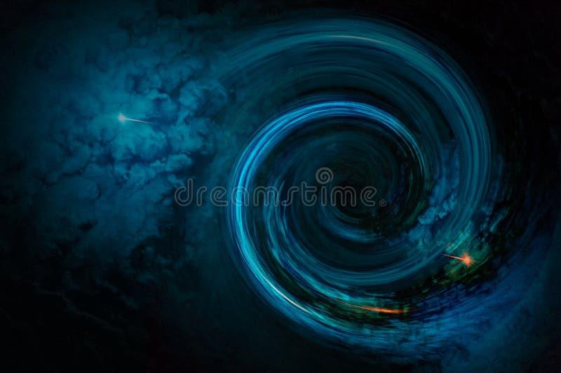 Zwart gat met nevelwolken in kosmische ruimte stock foto's