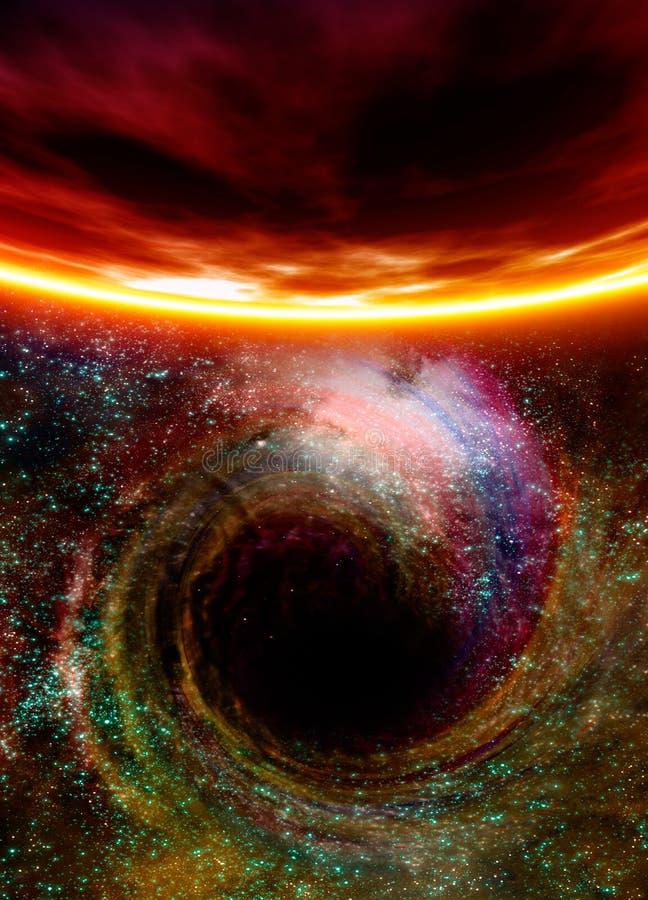 Zwart gat in ruimte vector illustratie