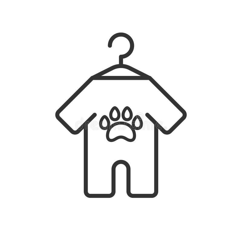 Zwart geïsoleerd overzichtspictogram van dierenkleren op witte achtergrond Lijnpictogram van kleren voor hond royalty-vrije illustratie