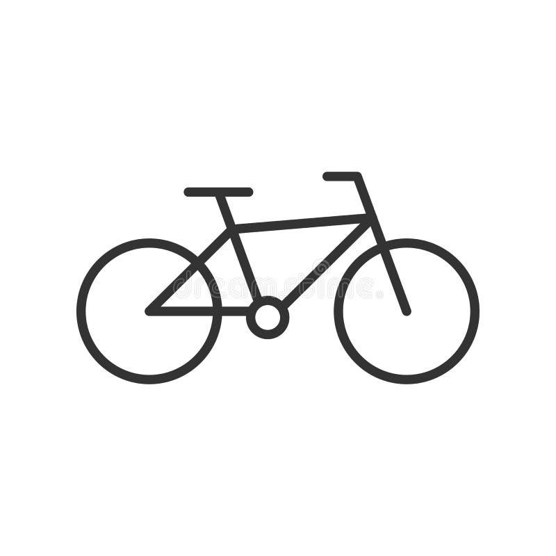 Zwart geïsoleerd overzichtspictogram van fiets op witte achtergrond Lijnpictogram van fiets royalty-vrije illustratie
