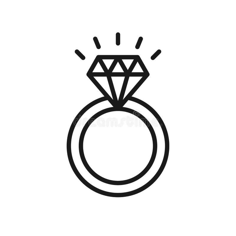 Zwart geïsoleerd overzichtspictogram van ring met diamant op witte achtergrond Lijnpictogram van trouwring vector illustratie