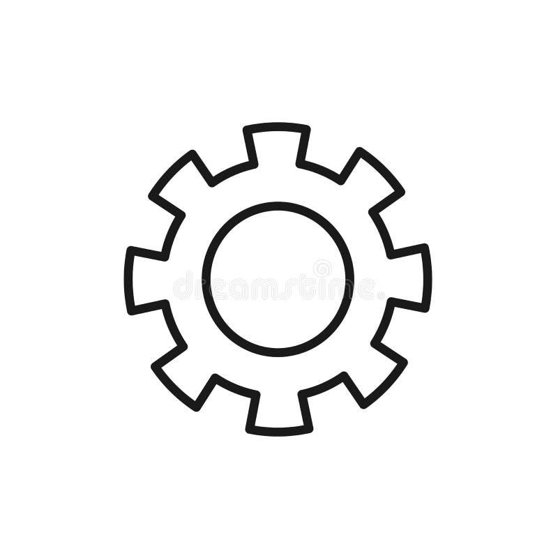 Zwart geïsoleerd overzichtspictogram van tandrad op witte achtergrond Lijnpictogram van toestelwiel montages vector illustratie