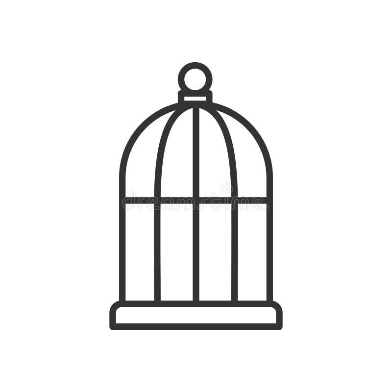 Zwart geïsoleerd overzichtspictogram van vogelkooi op witte achtergrond Lijnpictogram van kooi stock illustratie