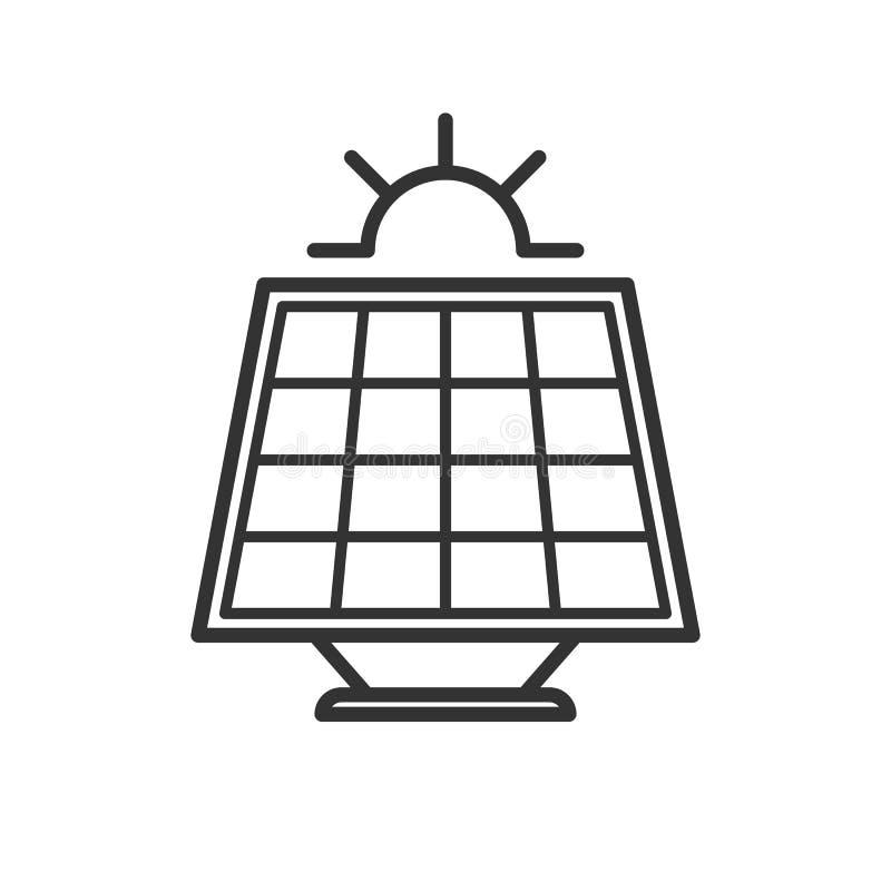 Zwart geïsoleerd overzichtspictogram van zonnepaneel met zon op witte achtergrond Lijnpictogram van zonnebatterij vector illustratie