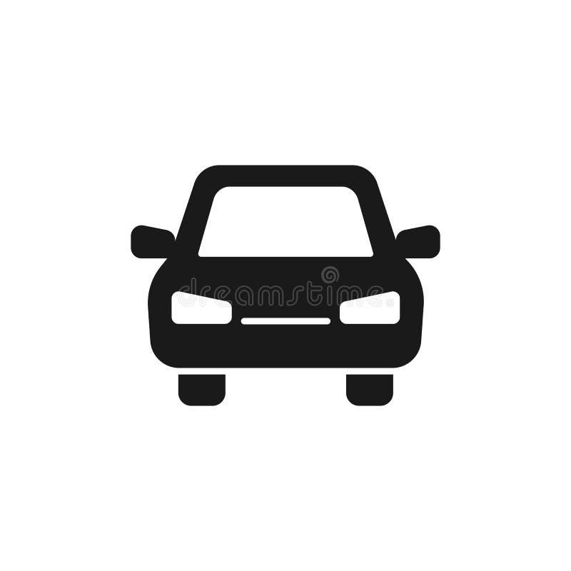Zwart geïsoleerd pictogram van auto op witte achtergrond Silhouet van automobiel, Vlak ontwerp Front View stock illustratie