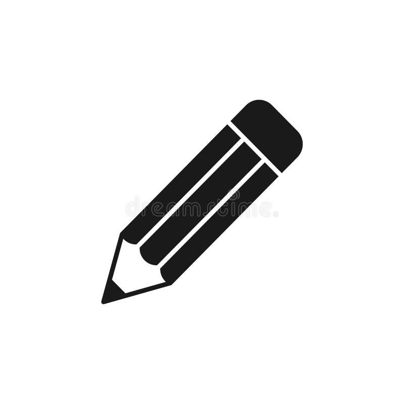 Zwart geïsoleerd pictogram van potlood op witte achtergrond Silhouet van potlood Vlak Ontwerp royalty-vrije illustratie