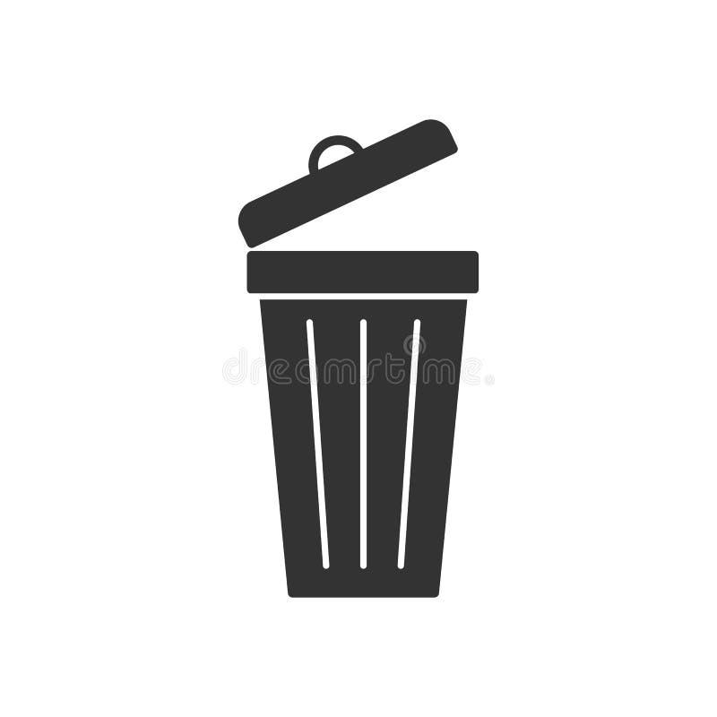 Zwart geïsoleerd pictogram van stofbak op witte achtergrond Silhouet van bak voor afval stock illustratie