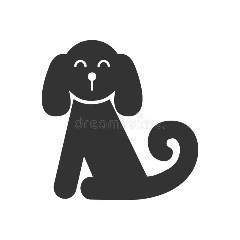 Zwart geïsoleerd pictogram van zittingshond op witte achtergrond Silhouet van hond vector illustratie