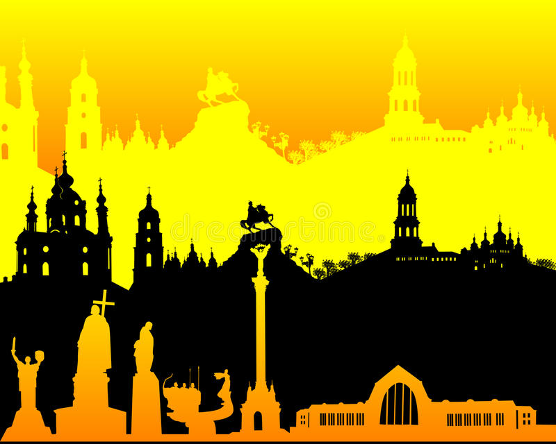Zwart geeloranje silhouet van Kiev stock illustratie