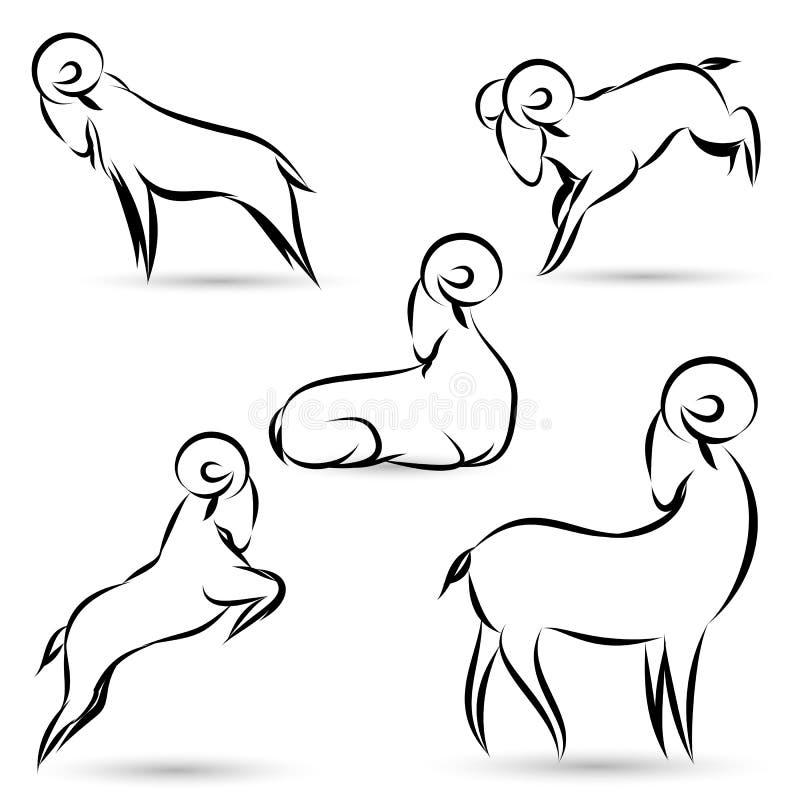 Zwart geitenoverzicht royalty-vrije illustratie