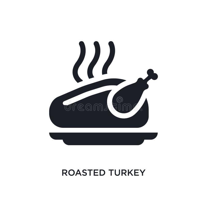 zwart geroosterd Turkije geïsoleerd vectorpictogram eenvoudige elementenillustratie van het concepten vectorpictogrammen van de V royalty-vrije illustratie