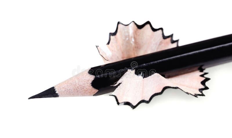 Zwart gescherpt potloodclose-up royalty-vrije stock afbeeldingen