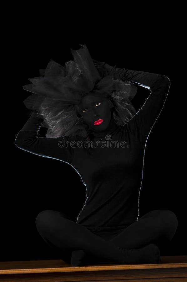 Zwart Geschilderd Gezicht - Donkere Dame stock foto's