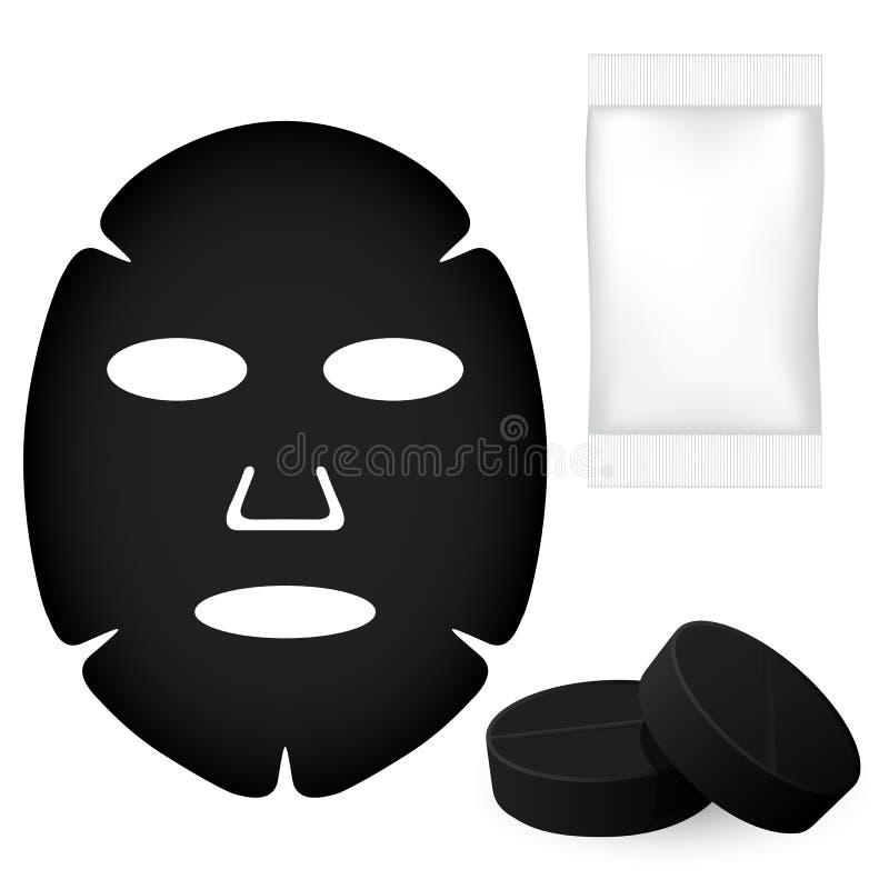 Zwart gezichtsmasker stock illustratie