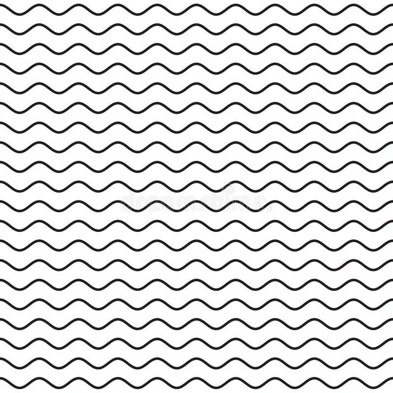 Zwart Golvend Lijn Naadloos Patroon stock illustratie