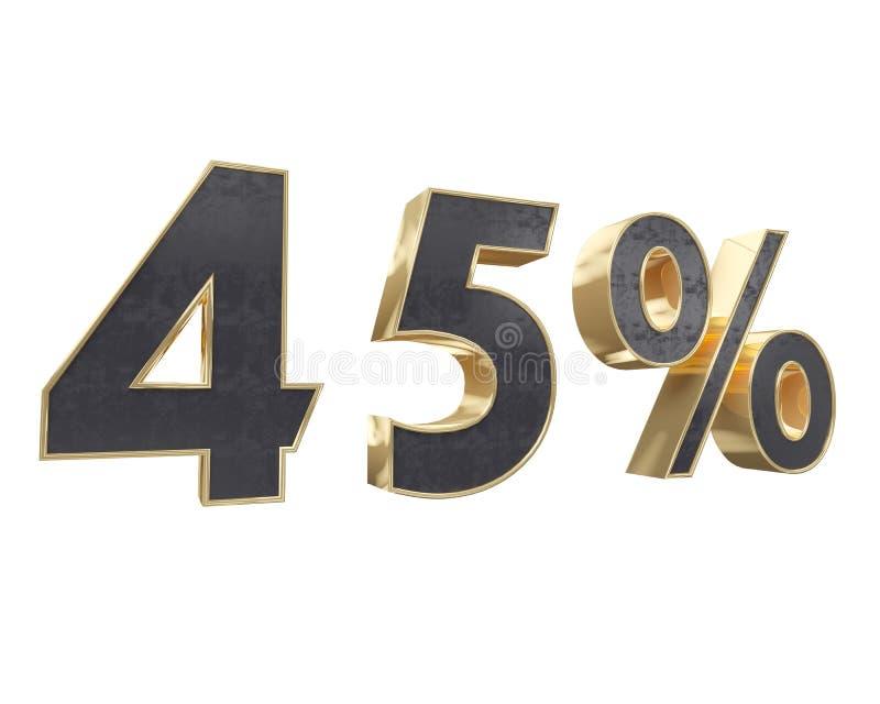 Zwart goud voor tien die percenten, op witte achtergrond worden geïsoleerd 3d illustratie van Renderer royalty-vrije illustratie