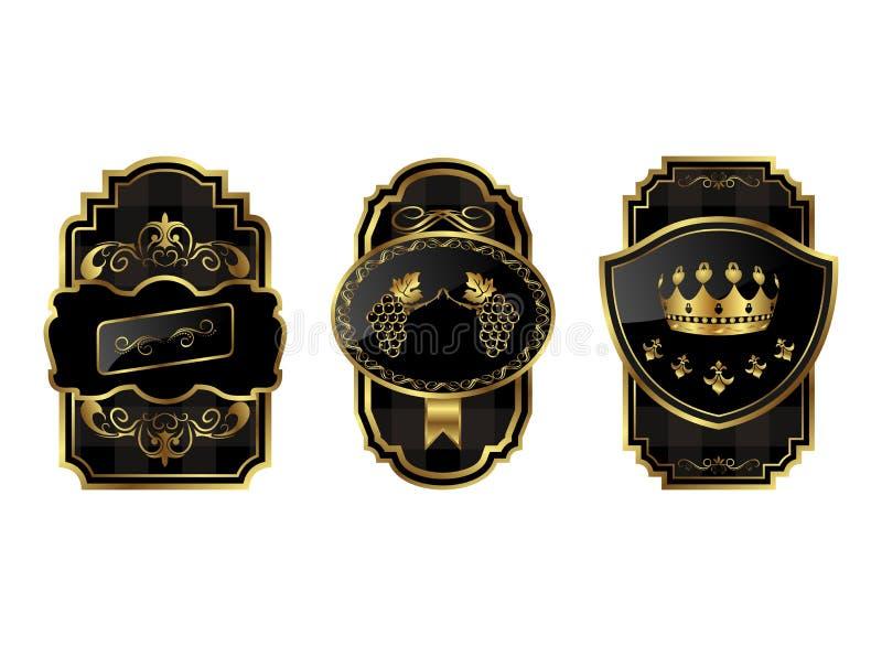 Zwart-gouden decoratieve frames stock illustratie