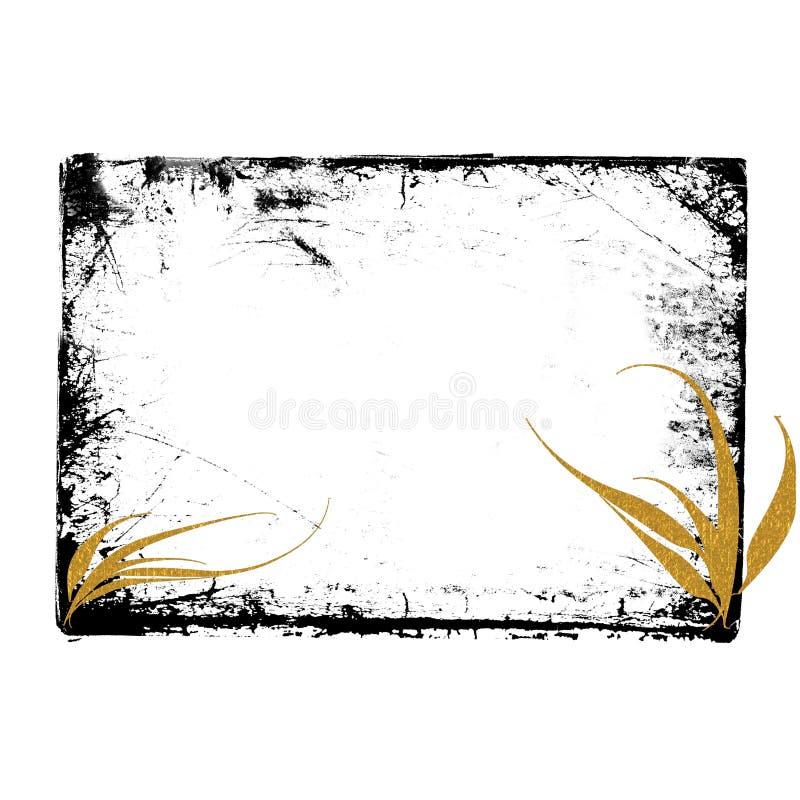 Zwart gouden grungeframe stock illustratie