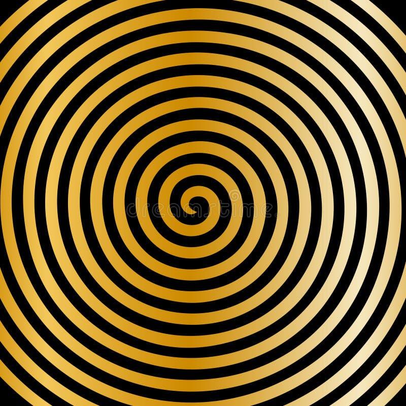 Zwart gouden rond abstract draaikolk hypnotic spiraalvormig behang vector illustratie