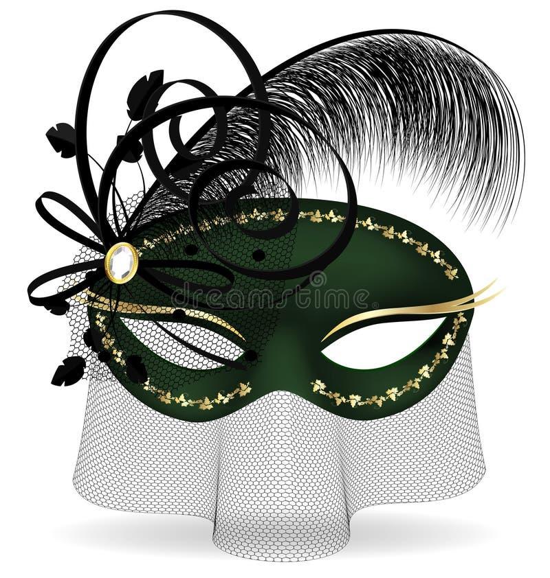 zwart-groene half-mask stock illustratie