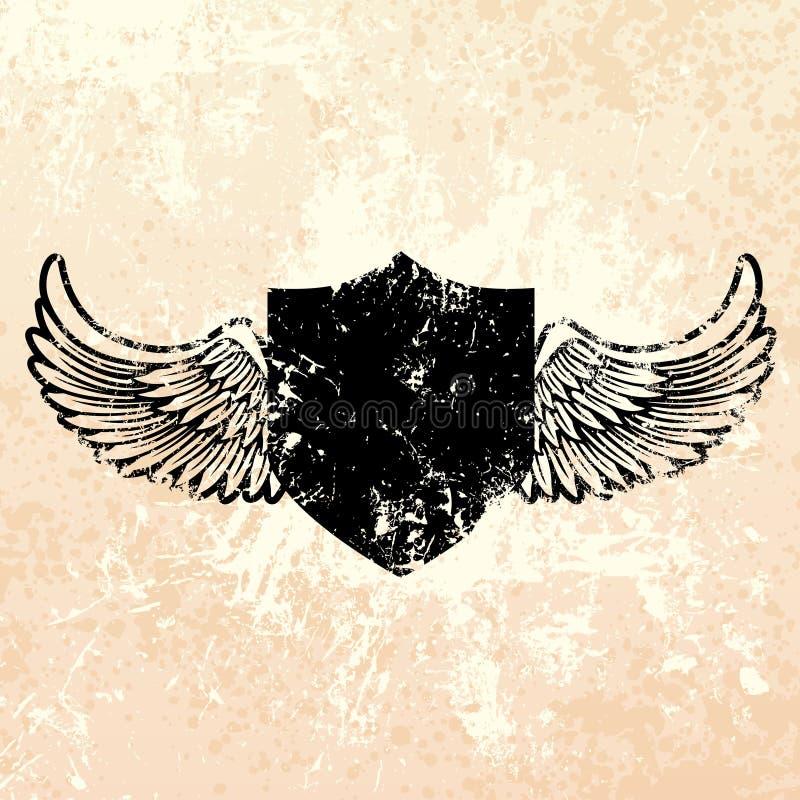 Zwart grungeschild royalty-vrije illustratie