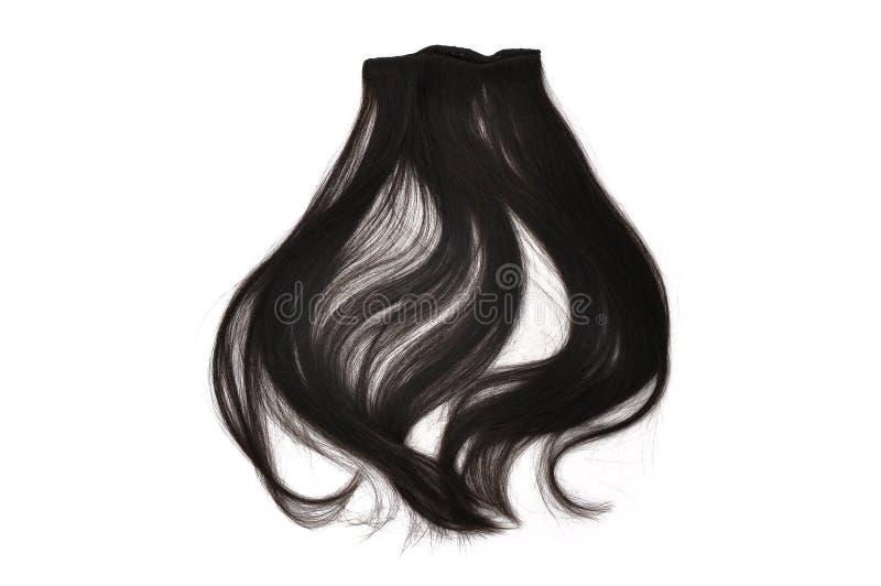 Zwart Haar dat op een witte achtergrond wordt geïsoleerd stock foto