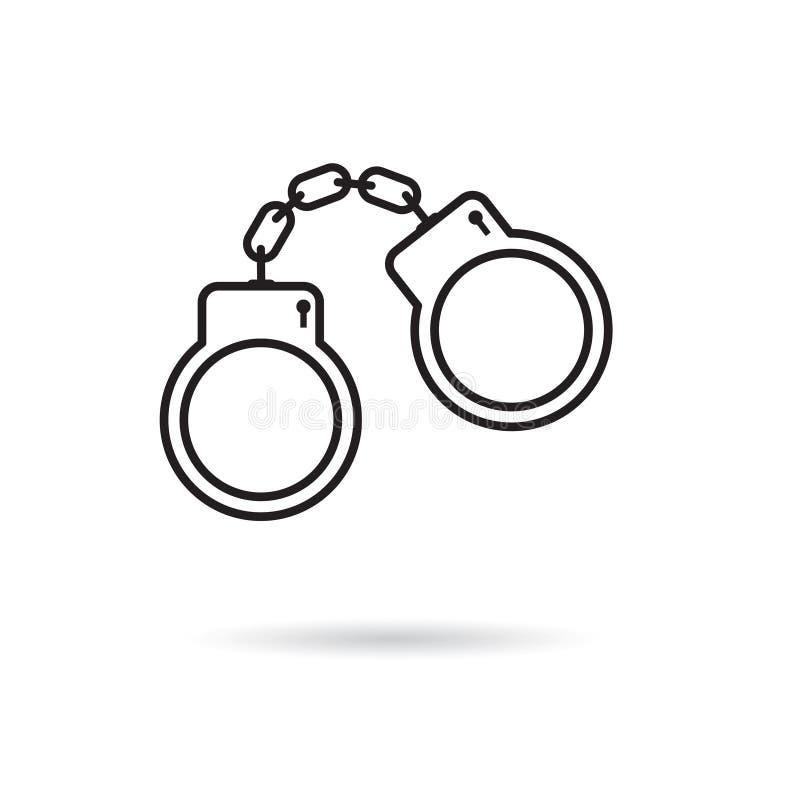 Zwart handcuffs pictogram vector illustratie