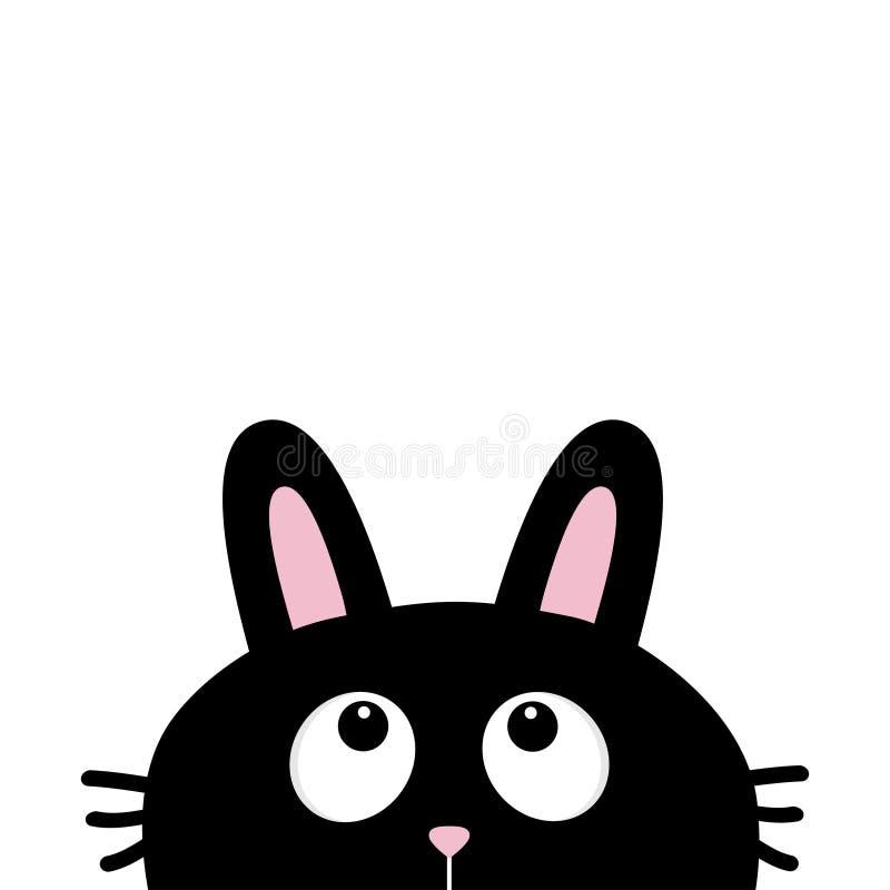 Zwart het gezichts hoofdsilhouet van het konijnkonijntje met lange oren die omhoog eruit zien royalty-vrije illustratie