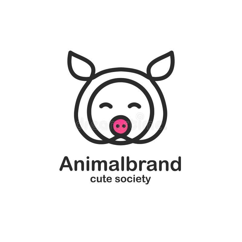 Zwart het ontwerpmalplaatje van het kleurenembleem met dierlijk hoofd Leuke varkenssnuit voor de dierenwinkel van het tekenlandbo royalty-vrije illustratie
