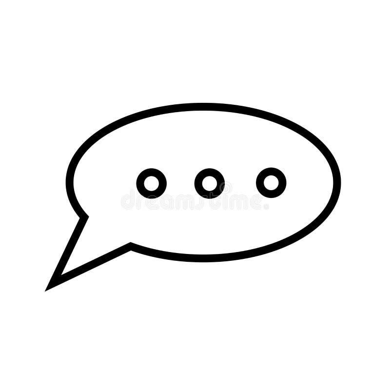 Zwart het pictogram vectordieteken en symbool van de toespraakbel op witte achtergrond, zwart het embleemconcept wordt geïsoleerd royalty-vrije illustratie