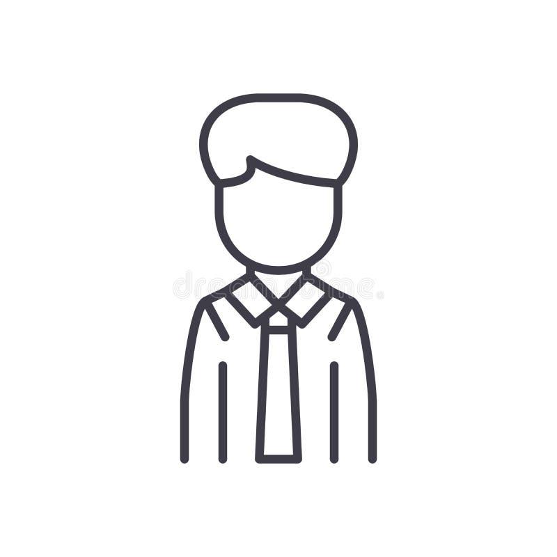 Zwart het pictogramconcept van de bureauwerknemer Het vlakke vectorsymbool van de bureauwerknemer, teken, illustratie royalty-vrije illustratie