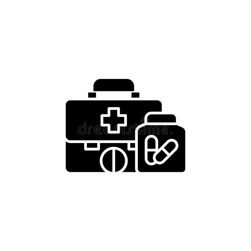 Zwart het pictogramconcept van de eerste hulpuitrusting Het vlakke vectorsymbool van de eerste hulpuitrusting, teken, illustratie vector illustratie