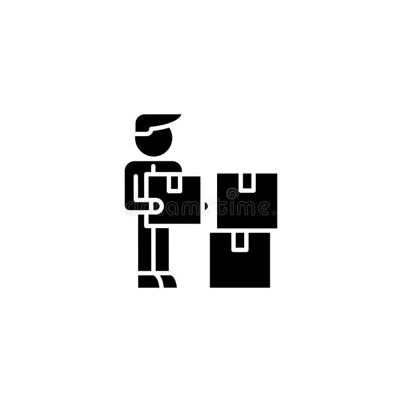 Zwart het pictogramconcept van de logistiekmanager Het vlakke vectorsymbool van de logistiekmanager, teken, illustratie stock illustratie