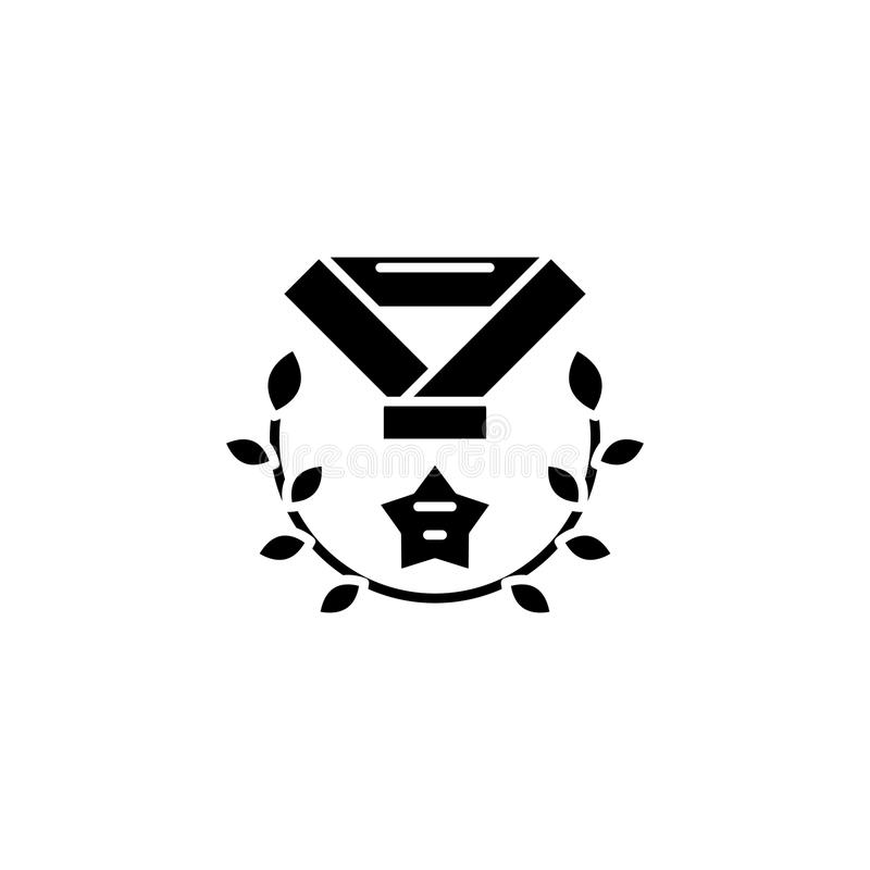 Zwart het pictogramconcept van de medaillekroon Het vlakke vectorsymbool van de medaillekroon, teken, illustratie vector illustratie