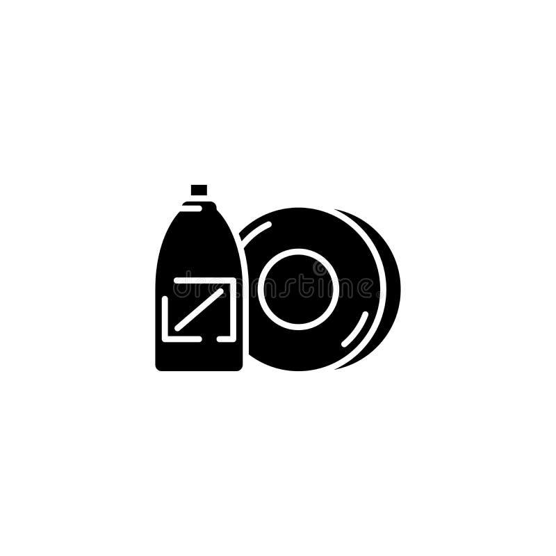 Zwart het pictogramconcept van de schotelzeep Het vlakke vectorsymbool van de schotelzeep, teken, illustratie royalty-vrije illustratie